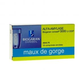 Biogaran Alfa-Amylase 3000 U.CEIP 18 comprimés enrobés