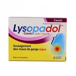 Lysopaïne Maux De Gorge Ambroxol Cassis 20mg sans sucre 18 Pastilles