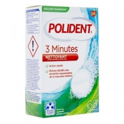 Polident 3 minutes nettoyant appareils dentaires 66 comprimés Action rapide