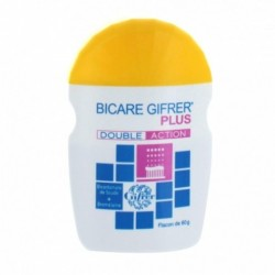 GIFRER BICARBONATE DE SOUDE BICARE PLUS DOUBLE ACTION FLACON JAUNE 60G