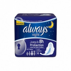 ALWAYS Serviettes hygiéniques ultra night avec ailettes - 10 serviettes