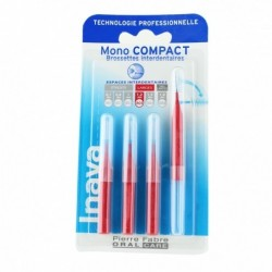 INAVA BROSSETTES INTERDENTAIRES MONO COMPACT ROUGE 1.2MM X4