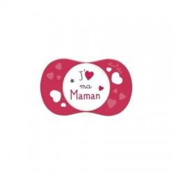 """LUC ET LEA - Sucette +6 mois symétrique """"j'aime ma maman"""""""