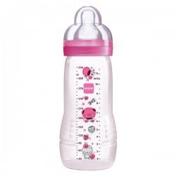 MAM - Biberon 2ème âge rose tétine débit x - 330 ml