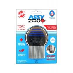 ASSY 2000 peigne anti poux et lentes - Métal - 33 dents micro cannelées pointes arrondies