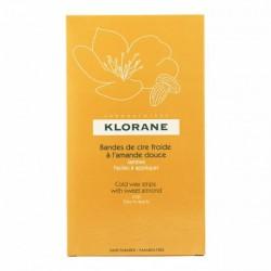 KLORANE - BANDES DE CIRE FROIDE A L'AMANDE DOUCE - 6 BANDES DOUBLES