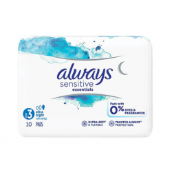 ALWAYS Sensitive essentials taille 3 ultra night 10 serviettes avec ailettes