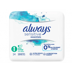SERVIETTES TAILLE 1 ULTRA NORMAL AVEC AILETTES X14 SENSITIVE ESSENTIALS ALWAYS
