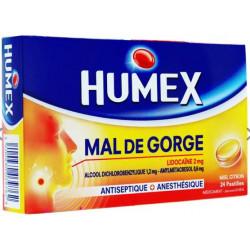 Humex mal de gorge miel citron 24 pastilles