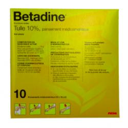BETADINE TULLE 10 POUR CENT pansement médicamenteux B/10