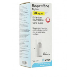 Ibuprofène Mylan 20mg/ml suspension buvable sans sucre 200ml